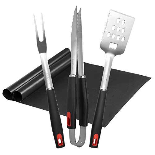 LauKingdom BBQ Grill Tool Set, Stainless Steel Grilling Utensils, Spatula, Tong, Fork and Mats with Carrying Storage Case (5 Pack)