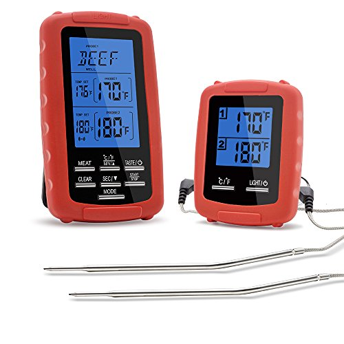 The Premium Chef Wireless Grill Thermometer with Dual Probe for Smoker, Countdown Timer, and Personalized Taste Settings