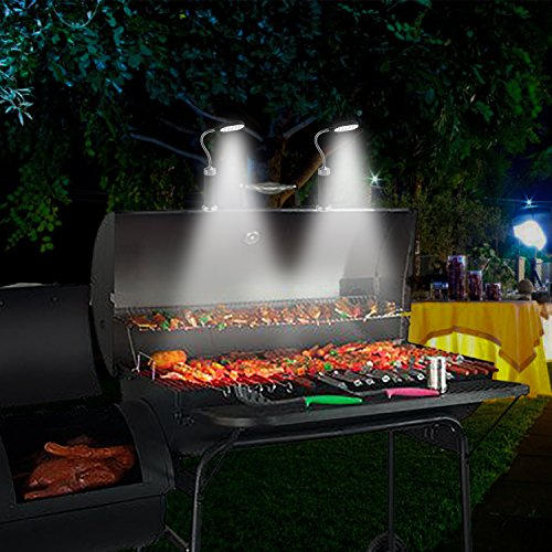 Philonext 2 Pack Barbecue Grill Light Magnetic Base Flexible Goose-neck Weather Resistant Powerful BBQ Light with 15 Ultra-Bright LED Lights for Any Gas/Charcoal/Electric Grill & 6 Pcs AAA Batteries