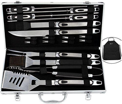 ROMANTICIST BBQ Tools Set – 20PCS BBQ Grill Tools Set w/ Non Slip Handle – Heavy Duty Stainless Steel Barbecue Grilling Utensils in Aluminum Storage Case – Premium Grilling Accessories for Barbecue