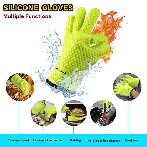 Lefu Mae BBQ Oven Gloves, Meat Thermometer, Meat Shredder Claw and BBQ Grill Mat (4 in 1) BBQ Grilling Tool Accessory for Indoor Outdoor Cooking with Gift Box
