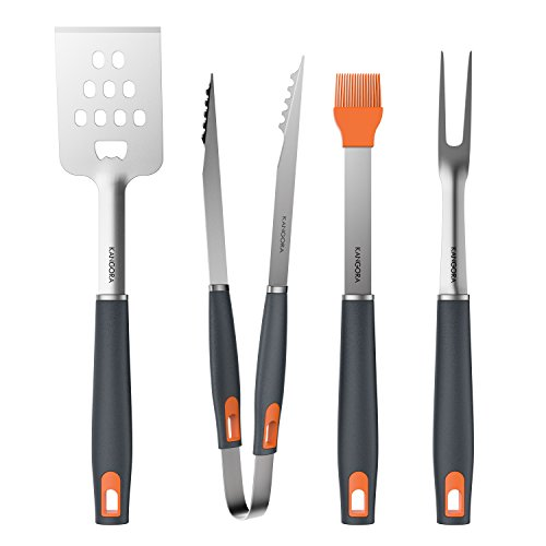 BBQ Grill Tools Set with 4-Piece Barbecue Accessories by KANGORA – Premium Heavy Duty Stainless Steel Starter Grilling Utensils Tool Kit – Spatula, Tongs, Fork, and Basting Brush (4 Piece Set)
