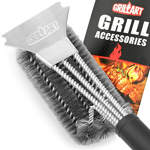 Grill Brush and Scraper – GRILLART Best BBQ Brush for Grill, Safe 18″ Stainless Steel Woven Wire 3 in 1 Bristles Grill Cleaning Brush for Weber Gas/Charcoal Grill, Gifts for Grill Wizard – NEW ARRIVAL