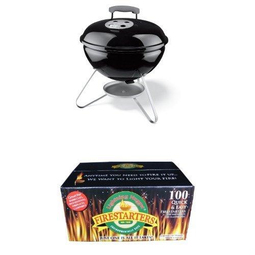 Weber 10020 Smokey Joe 14-Inch Portable Grill and Lighting Nuggets Bundle
