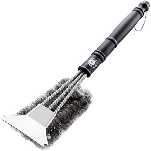 Alpha Grillers 18″ Grill Brush With Scraper. Best BBQ Cleaner. Safe For All Grills. Durable & Effective. Stainless Steel Wire Bristles And Stiff Handle. A Perfect Gift For Barbecue Lovers