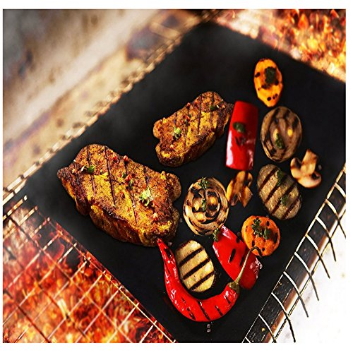 Haolide Heavy-Duty Non-Stick BBQ Grill Mat,Set of 5-Heat Resistant,Durable,Reusable,Easy-to-Clean Barbecue Mat for Baking Gas,Charcoal and Electric Grill