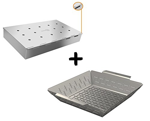 Smoker Box Wide + Vegetable Grill Basket – DISHWASHER SAFE STAINLESS STEEL – Large Non Stick BBQ Grid Pan For Veggies Meat Fish Shrimp & Fruit – Best Barbecue Wok Topper Accessories Gift for Dad