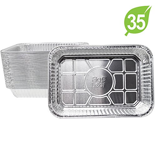 "(35 Pack) Disposable Aluminum Drip Pans Model 6415 Weber Compatible Foils l Small Size 7.5"" x 5"" x 1.7″ l Perfect Fit for Weber Q grills, Spirit gas grills, Genesis and Genesis II LX 200 300 series"
