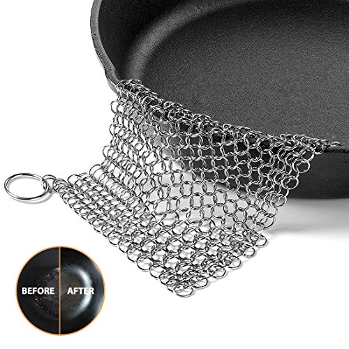 Cast Iron Cleaner, OMOCOOK XL 8×6 Inch Premium Stainless Steel Chainmail Scrubber for Cast-Iron Skillet, Pan, Wok, Griddle, Waffle Iron Pans Scraper Cast Iron Grill Scraper Skillet Scraper