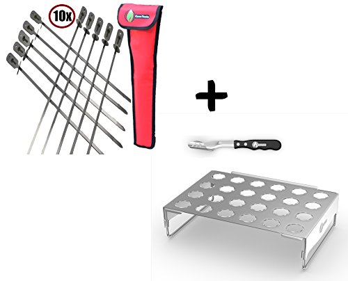 BBQ Skewers (10) Extra Long + Jalapeno Grill Rack & Pepper Corer Tool – LARGE 24 CAPACITY ROASTER – Holder Also For Cooking Chili Chicken Legs & Wings – Dishwasher Safe Stainless Steel Accessories