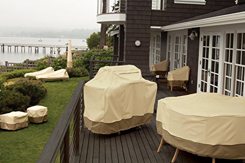 Classic Accessories 55-410-011501-00 Veranda Ceramic Grill Cover With Offset Table, Large