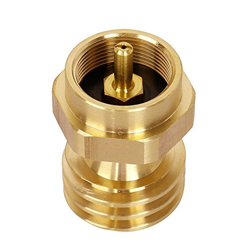 "1 LB Propane Gas Grill Steak Saver Adapter Converter Universal 1 Pound/16.4 oz Disposable Small Bottle for BBQ Grill, Propane Tree – 1""-20 Male Throwaway Cylinder Thread, 100% Solid Brass"