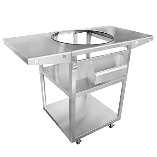 Onlyfire Stainless Steel Table Top Grill Cart Fits For Big Green Egg  XLarge, Kamado Joe