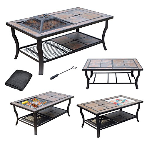AXXONN 4 in 1 Rectangular Tile Top Fire Pit, Cooler, Grill and Coffee Table with Cover