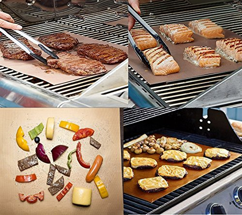 Zuozee Non-Stick BBQ Grill Mat,Reversible Barbecue Plate,Washable Baking Paper, Reusable Oven Sheet,Heat-resistant Placemat,Multipurpose Cooking Liner for Grilling Baking Roasting (Set of 3)