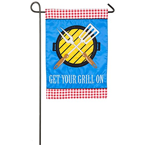Evergreen Get your Grill On Outdoor Safe Double-Sided Applique Garden Flag, 12. 5 x 18 inches