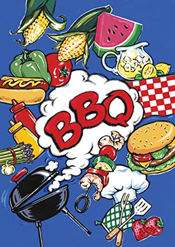 Toland Home Garden BBQ 28 x 40 Inch Decorative Summer Picnic Grill Barbecue Burger Melon Double Sided House Flag