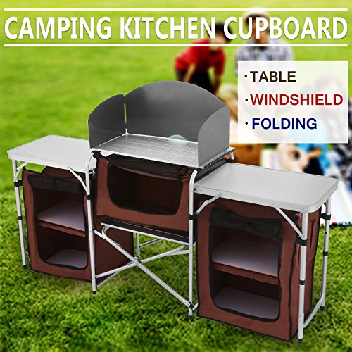 OrangeA Camping Table Foldable Outdoor Cooking Table Portable Easy-to-clean Camping Kitchen Camping Table with Storage for Barbecue (Brown)