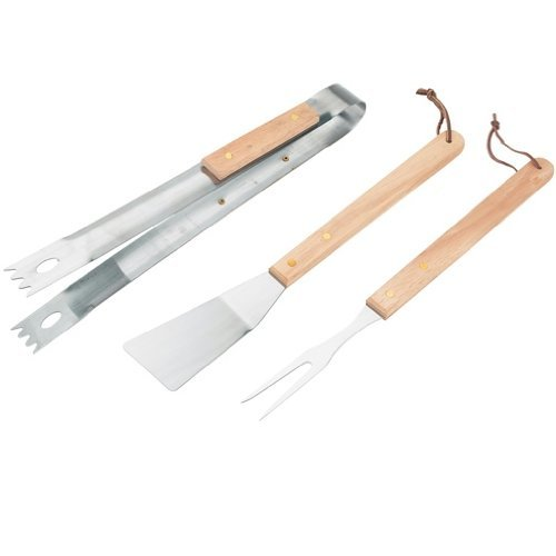 3pc Wooden Handled Barbecue Tool Set for Outdoor Bbq's and Summer Grilling