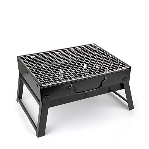 Olymstore Portable Outdoor Stainless Steel Grill, Removable Compact Barbecue, Folding Mini 10-inch Grill Picnic BBQ Grill Small Iron Hibachi for Camping, Backpacking Party, Backyard