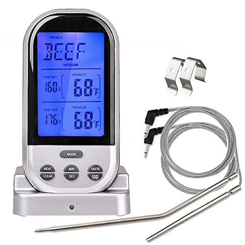 Practical Fathers Day Gifts Dual Probe Wireless Meat Thermometer For  Grilling Smoker BBQ Oven Safe Meat