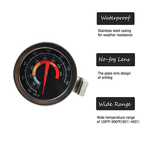 2″ BBQ Grill Temperature Gauge for Big Green Egg,Grill Dome, Char Griller Kamado Smoker Stainless Steel 150-900°F Cooking Kamado Replacement Thermometer with Waterproof and No-Fog Glass Lens (1)