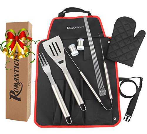 ROMANTICIST SPECIAL OFFER at a Limited Time for 20th Anniversary Celebration – 7pc Heavy Duty Stainless Steel BBQ Tool Set – Grill Gift Kit for Men Dad on Fathers Day