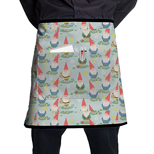 Cute Gnome Short Apron Black Overhand Apron Intended For Teens One Size Grill Drilling