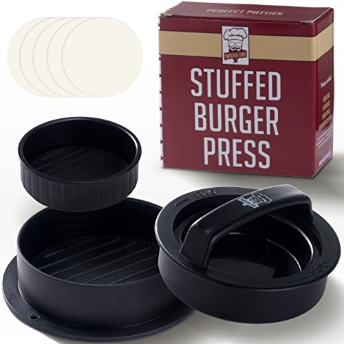 Non Stick Burger Press Patty Maker + 40 Wax Paper Discs, Easy to Use, Dishwasher Safe, Works Best for Stuffed Burgers, Sliders, Regular Beef Burger, Essential Kitchen & Grilling Accessories