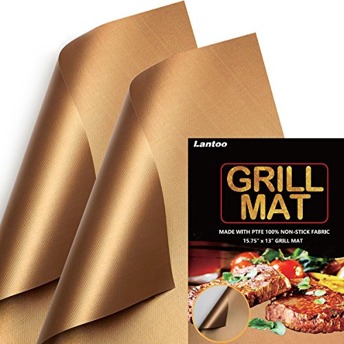 Lantoo Copper Chef Grill Mat – Set of 2 Non Stick Magic Barbecue Grill Mats/BBQ Grilling Mat, Reusable, Easy to Clean, FDA Approved, PFOA Free, For Gas Charcoal Electric Hibachi Grill – 15.75 x 13
