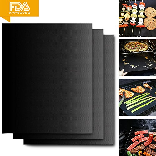 HUGALLUR BBQ Grill Mat, 3 Pack Non Stick Grilling Mat Set, Durable, BPA-Free, Reusable & Easy To Clean 16″X13″ Baking Mat/Top Grilling Accessory For Gas, Charcoal, Electric Barbecue, Oven Or Smoker