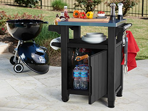 Keter Unity Indoor Outdoor BBQ Entertainment Storage Table/Prep Station with Metal Top, Graphite