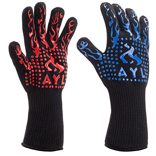 AYL BBQ Gloves Heat Resistant Up to 932⁰F: Insulated Kitchen Cooking Baking & Grilling Gloves For Holding Pots, BBQ, Grill, Non-Slip, Comfy Gril, Mitts, Top BBQ Accessory