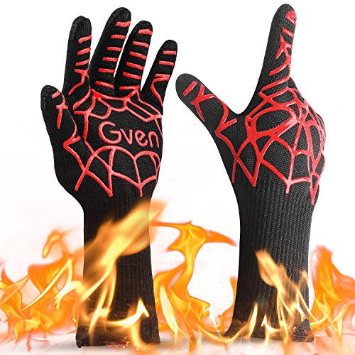 BBQ Cooking Gloves, 932°F Extreme Heat Resistant Grilling Gloves Non-Slip Kitchen Mitts BBQ Fireplace Accessories for Men Women, 1 Pair,14″ Extra Long