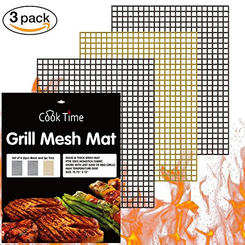 BBQ Grill Mesh Mat Set of 3 Non Stick BBQ Mesh Grill Mats Teflon Grilling Mats Nonstick Fish Vegetable Smoker Mats for Grill – Works on Gas, Charcoal, Electric Barbecue 15.75x13inch(2 black+1 Copper)
