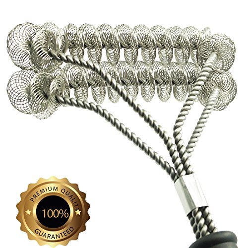 Gven Grill Brush Bristle Free- BBQ Grill Cleaning Brush And Scraper- Safe 18″ Weber Grill Cleaning Kit for Stainless Steel, Ceramic, Iron, Gas & Porcelain Barbecue Grates