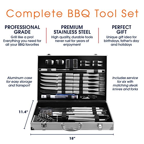 30 Piece BBQ Utensil Set   Professional Grade Stainless Steel Barbecue Grill Tool Set with Aluminum Storage Case – Includes 4-in-1 Spatula Turner, Tongs and many other bbq Grilling Accessories