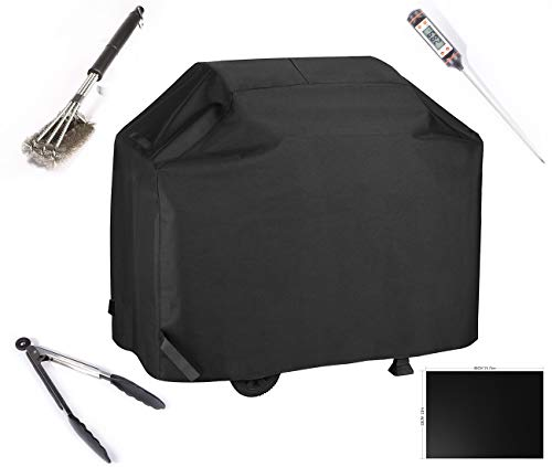 BBQ Gas Grill Cover With Cooking Tools Set Waterproof & Rip Resistant Heavy Duty 58 Inch 3-4 Burners Electric Barbecue Grill Cover Fit Weber, Charbroil, And Other Most Popular Grill Brands(Black)