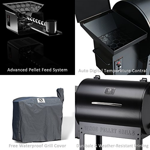 Z Grills ZPG-7002 Wood Pellet Grill & Smoker, 8 in 1 BBQ Grill Auto Temperature Control, 700 sq inch Cooking Area, Black