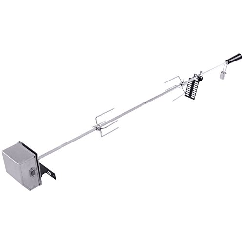 Giantex Universal BBQ Rotisserie Motor Kit Stainless Steel Heavy Duty Open Fire Spit for Most Burner Grills 47″ Square Spit Rod On/Off Switch Deluxe Electric Grill Rotisseries Kit