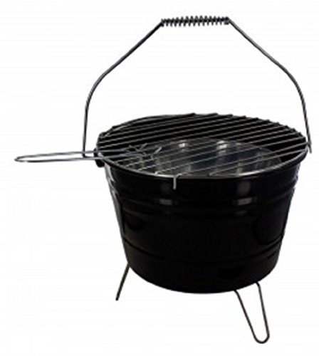 KnGLuv BBQ Bucket Compact Barbecue Charcoal Grill – Metal Outdoor Patio Deck Camp Grilling