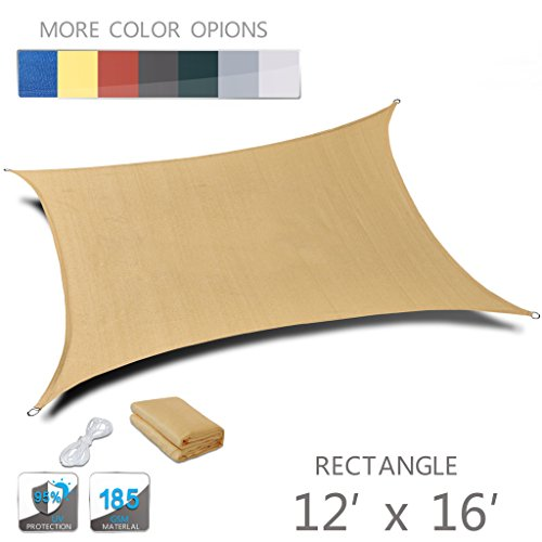 Love Story 12′ x 16′ Rectangle Sand UV Block Sun Shade Sail Perfect for Outdoor Patio Garden