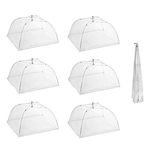 Tailbox Set of 6 Large Pop-Up Mesh Screen Food Cover Tent Umbrella – 16 Inch White Reusable and Collapsible Outdoor Picnic Food Covers Net for Outdoor Picnic & BBQ Keep Out Flies, Bugs & Mosquitoes