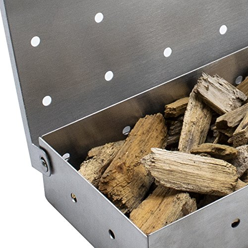 Sorbus Smoker Box for Wood Chips – Adds Smokey BBQ Flavor on Gas or Charcoal Grills – Ideal Grilling Accessories for Barbecue Meat Smoking – Hinged Lid – Heavy Duty Stainless Steel