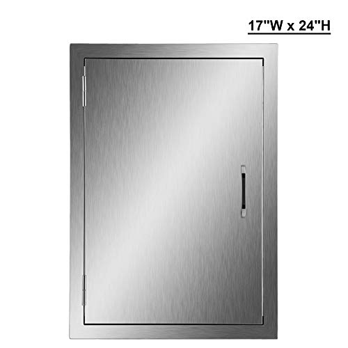 CO-Z 304 Brushed Stainless Steel BBQ Door, SS Single Access Doors for Outdoor Kitchen, Commercial BBQ Island, Grilling Station, Outside Cabinet, Barbeque Grill, Built-in