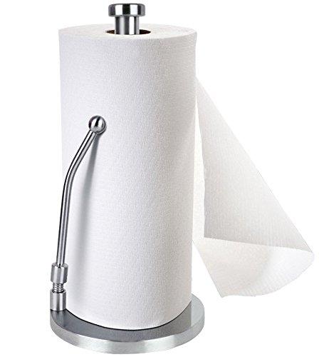 Stand Up Paper Towel Holder, Easy to Tear, Sturdy Stainless Steel, Paper Towel Dispenser with Anti Rust Weighted Base for Tissue and Garbage Bags in Roll