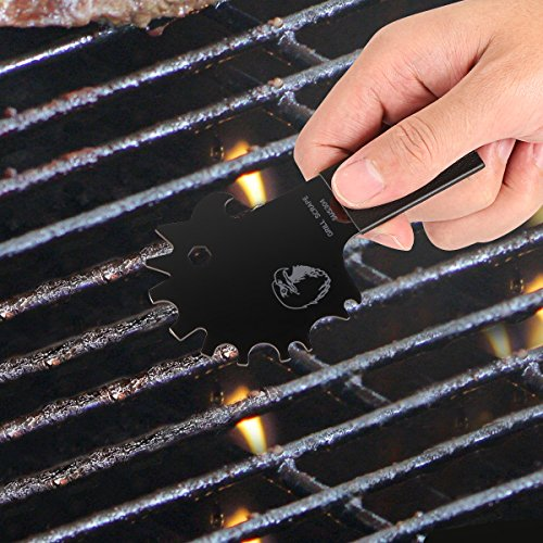 Aollop Newest Grill Scraper- Real Leather Design -100% Stainless Steel Extra Strong Safe BBQ Grill Cleaner Long Handle with Bottle Opener Griddle Cleaner and 6mm 7mm Wrench Include S-Hook Black