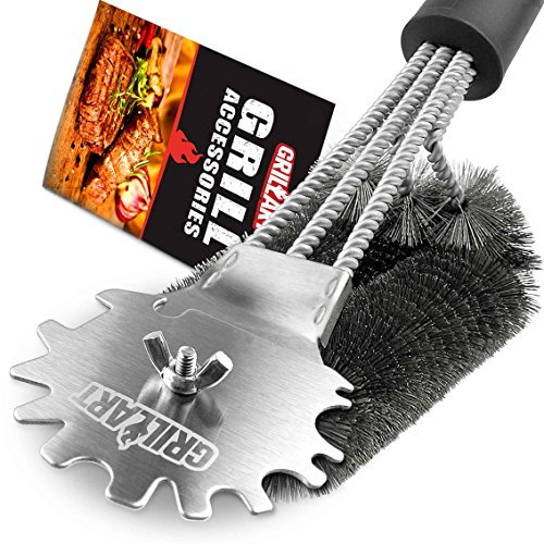 Grill Brush and Scraper Universal Fit – Adjustable BBQ Grill Accessories Cleaning Kit – 12 Grooves Safe 18″ Stainless Steel Barbecue Grill Cleaner Wizard Tools for Weber Gas/Charcoal Grilling Grates