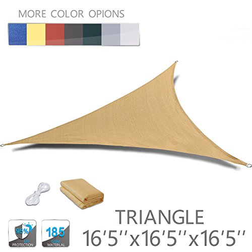"Love Story 16'5"" x 16'5"" x 16'5"" Triangle Sand UV Block Sun Shade Sail Perfect for Outdoor Patio Garden"