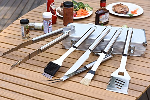 Royal Gourmet Deluxe 6-Piece Stainless Steel BBQ Accessory Set with Aluminum Carry Case – Best Value Grilling Professional Tool